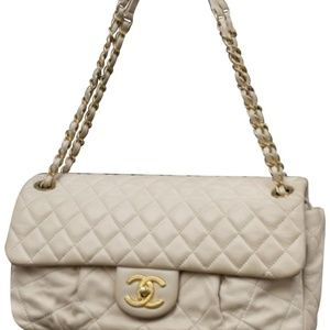 Chanel Quilted Light Beige Quilted Jumbo Flap